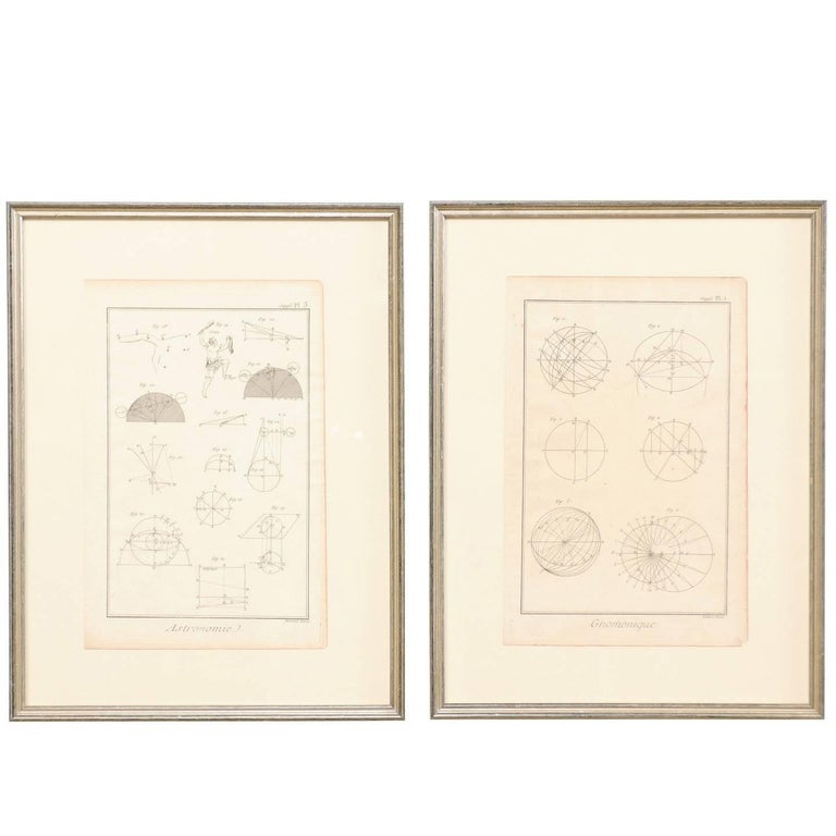 Pair of 18th Century French Framed Bernard Direx Astronomy / Geometric Rendering For Sale