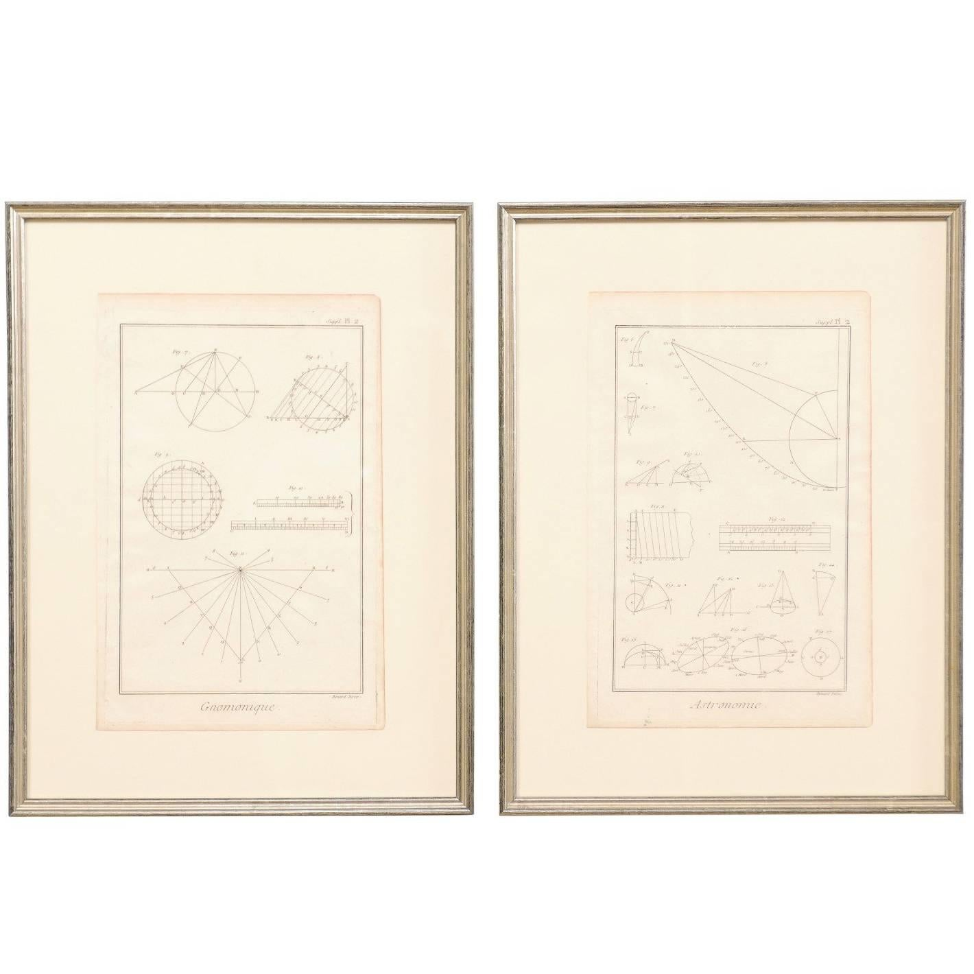 Pair of French Astronomy and Geometric Renderings by Artist Bernard Direx