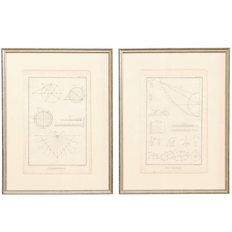 Pair of French Astronomy and Geometric Renderings by Artist Bernard Direx For Sale