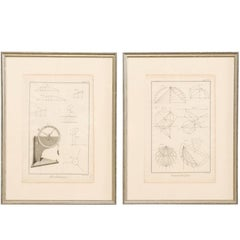 Pair of Mechanical and Geometrical French, 18th Century Framed Renderings