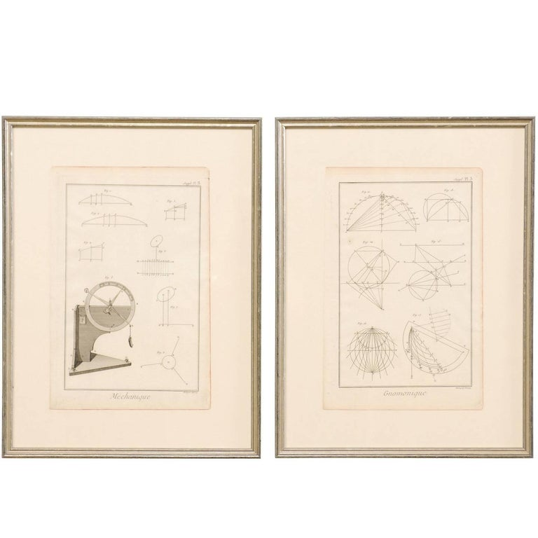 Pair of Mechanical and Geometrical French, 18th Century Framed Renderings For Sale