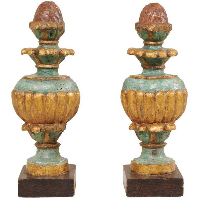 Pair of 18th Century Italian Carved and Painted Wood Urn Fragments