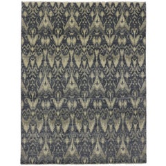 Transitional Blue Ikat Rug with Modern Style