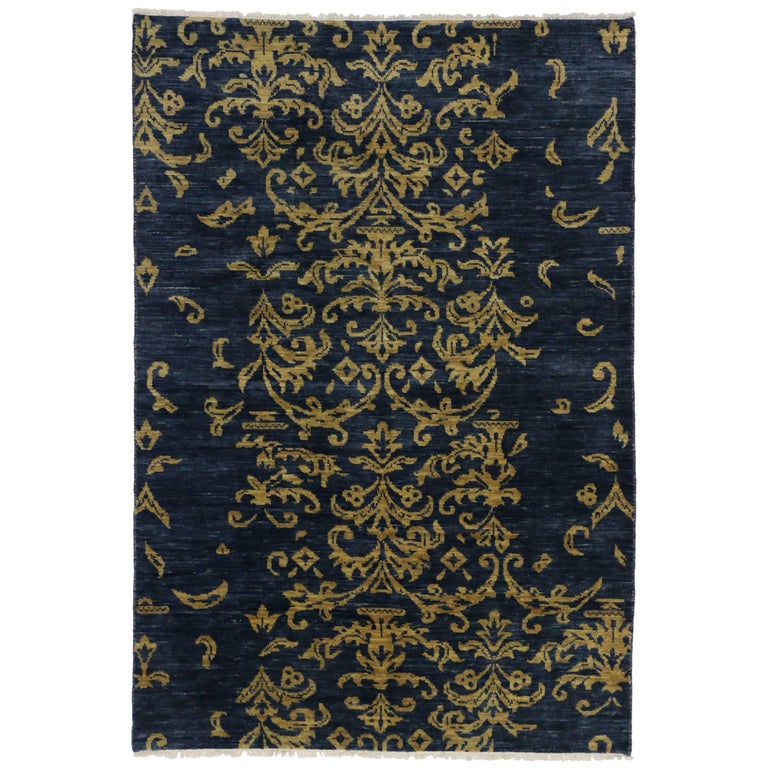Navy Blue And Gold Area Rug With Hollywood Regency Style For