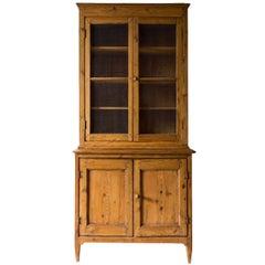 Vintage Two-Piece Pine Cabinet with Chicken Wire Door Details