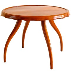 Osvaldo Borsani Midcentury Blond Walnut Round Coffee Table, 1940