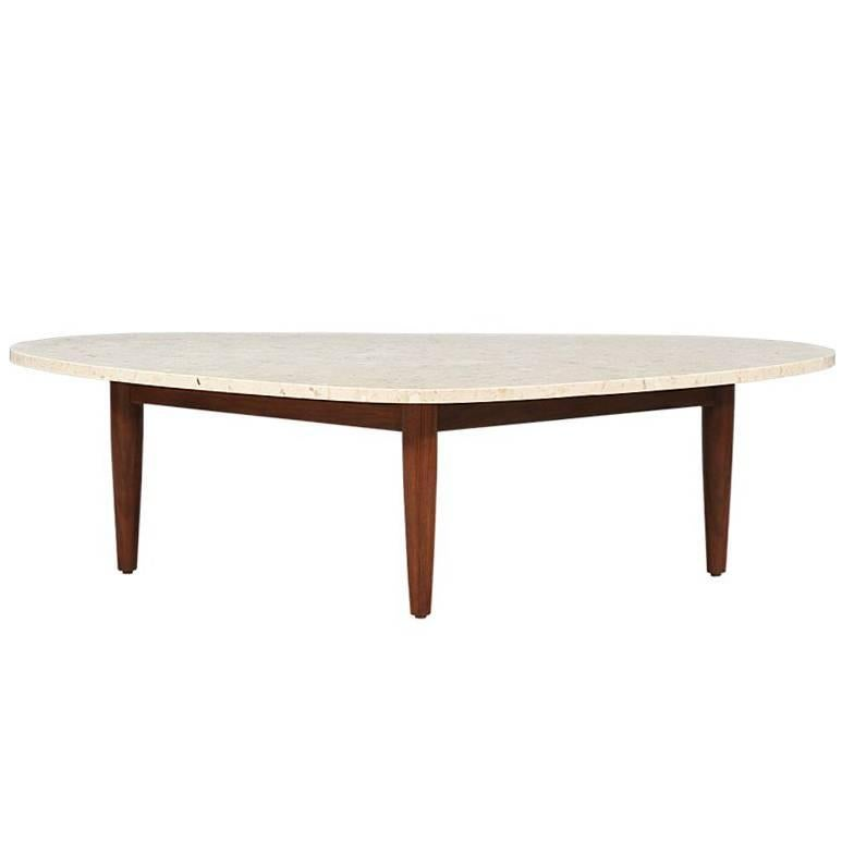 Mid Century Triangular Coffee Table With Travertine Top