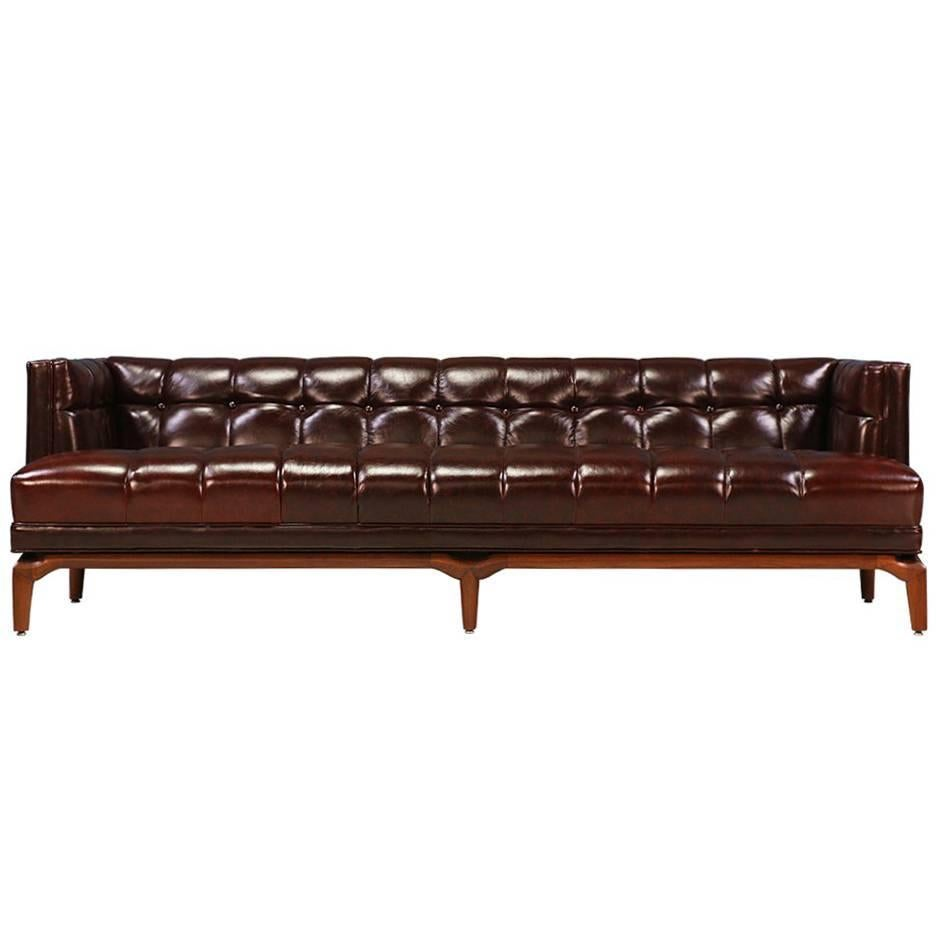Maurice Bailey Biscuit Tufted Leather Sofa For Monteverdi Young