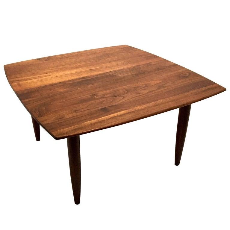 Solid Walnut Coffee Table: American Midcentury Solid Walnut Square Coffee Table