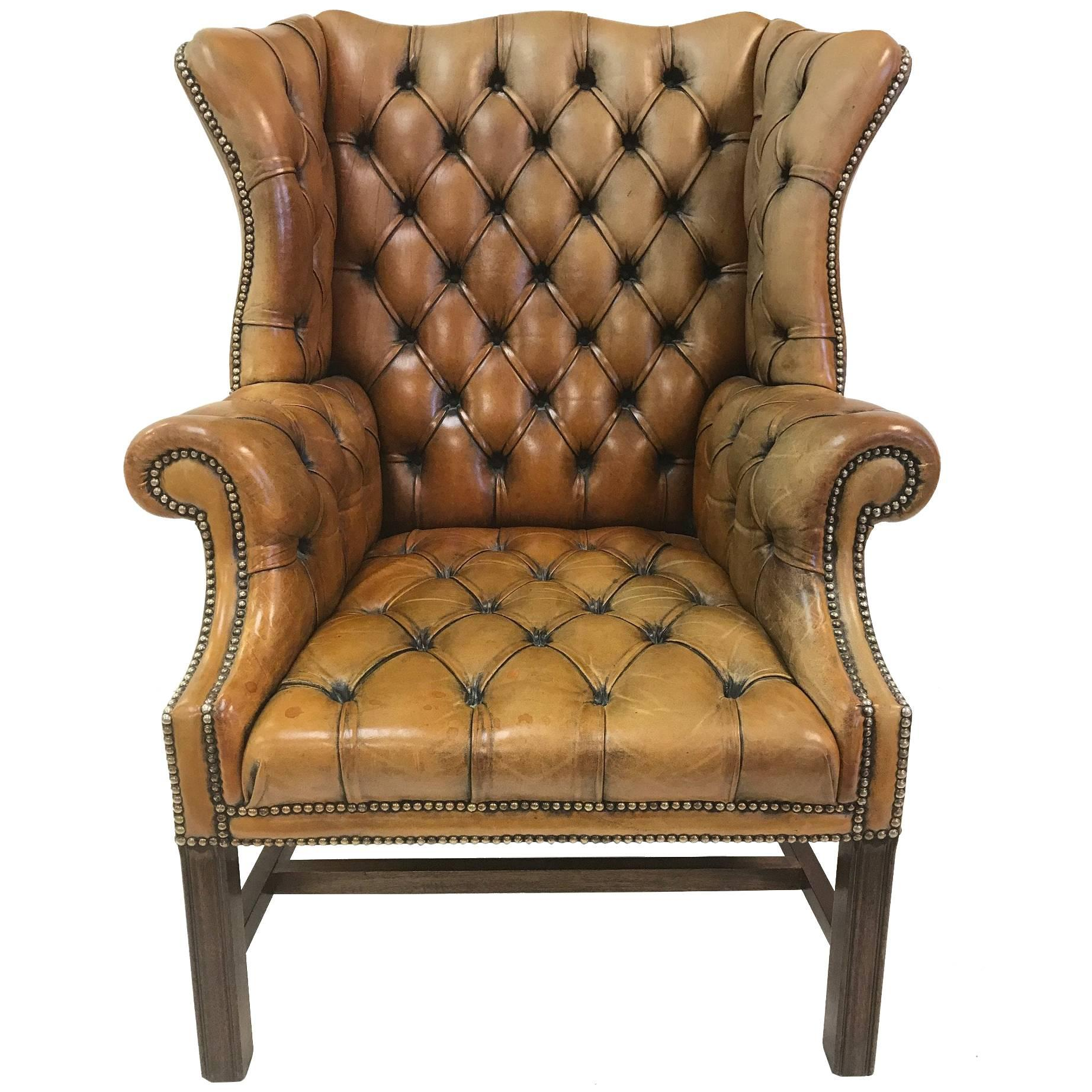 Vintage English Leather Tufted Wingback Library Chair For Sale