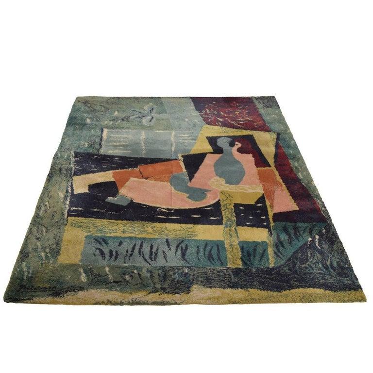 "Ege Art Line Rug: ""Sleeping Women With A Bird"" After Pablo Picasso Art Rug"