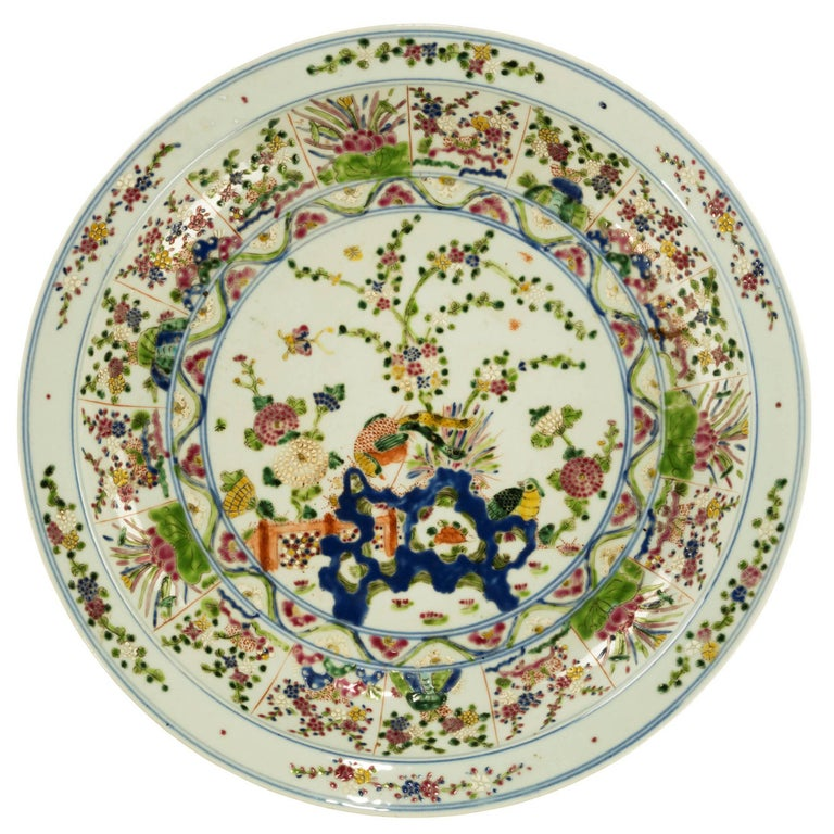 Mid-19th Century, Porcelain Chinese Charger with Enameled Decoration