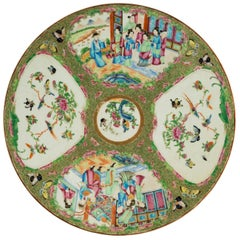 Late 19th Century Cantonese Porcelain Charger with Four Reserved Panels