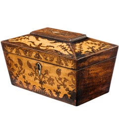 Regency Period Satinwood Marquetry Inlaid Caddy