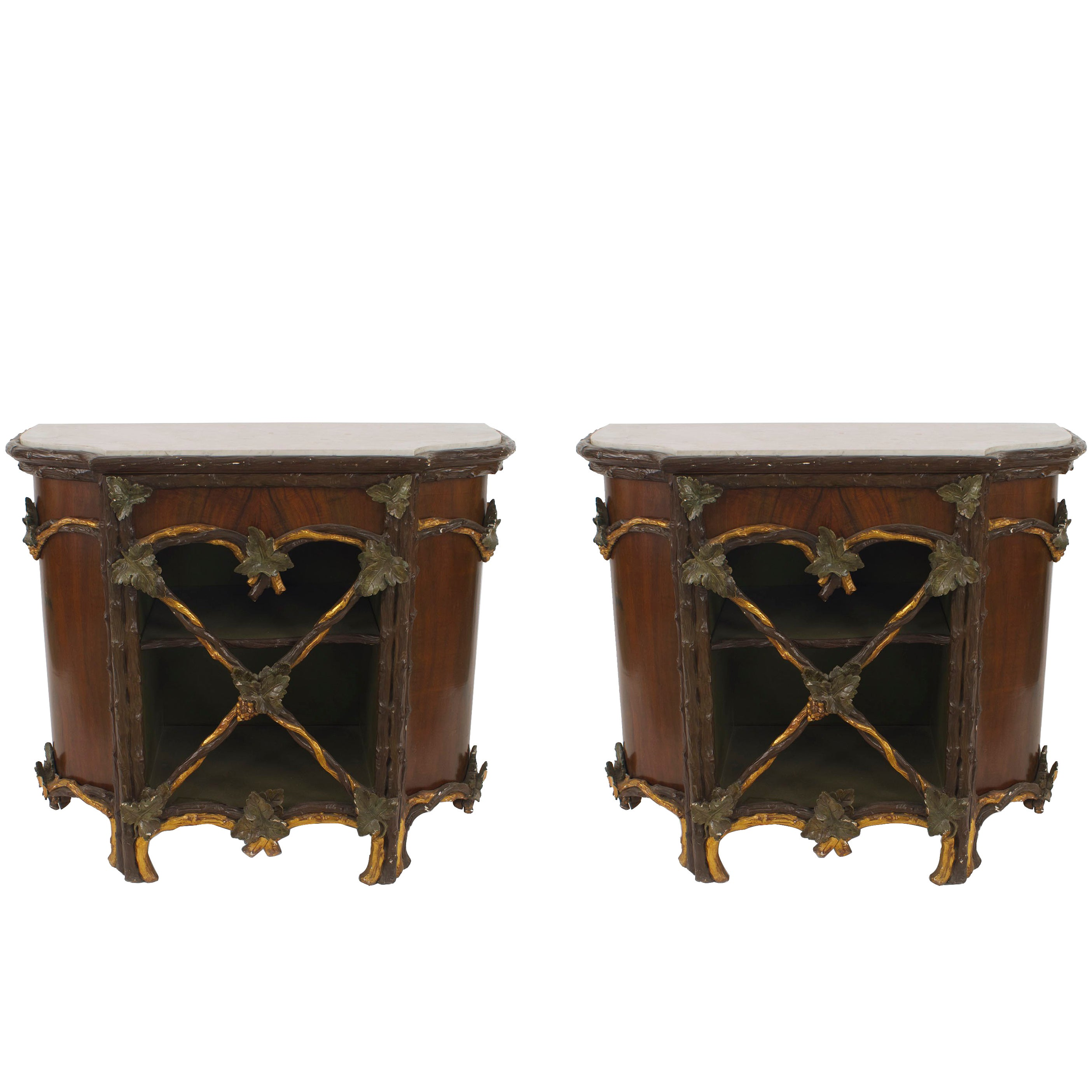 Pair of 19th c. Rustic Painted and Gilded Marble Top Commodes