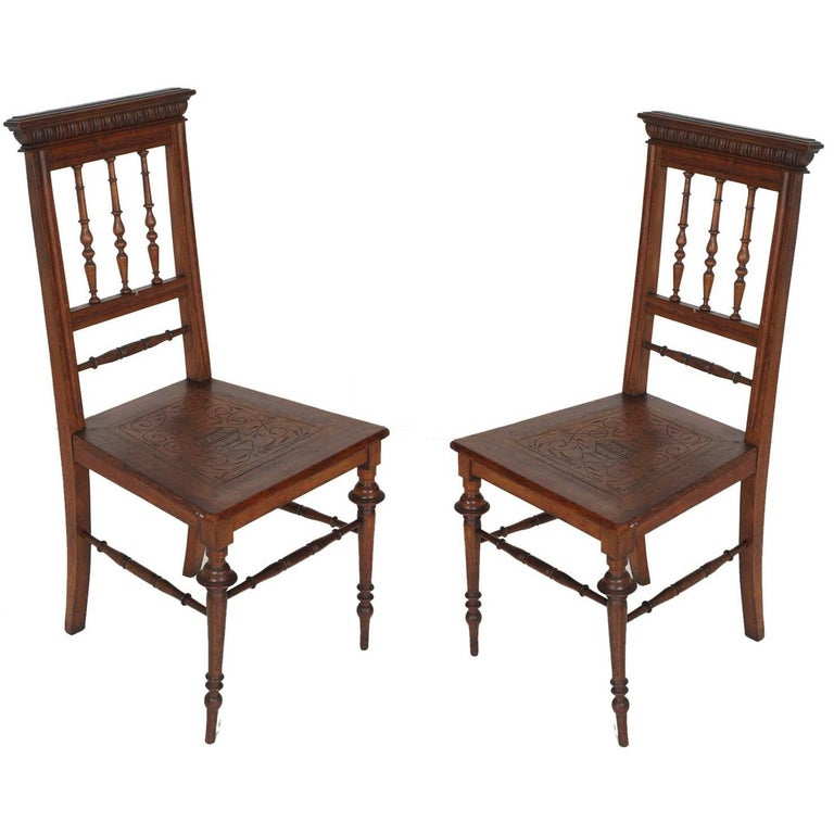 19th Century Chiavarine Chairs Turned Walnut with Hand-Carved Seat