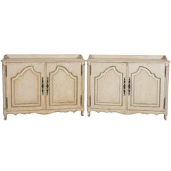 Pair of David Easton White-Washed Cabinets with Green Trim