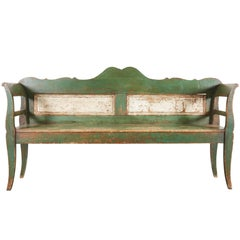 Scandinavian Green and White Painted Bench