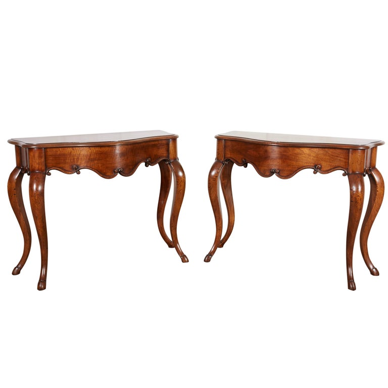 Fine Pair of Mid-19th Century Walnut Console Tables