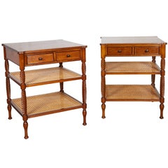 Pair of Teak and Caned Etagere Side Tables