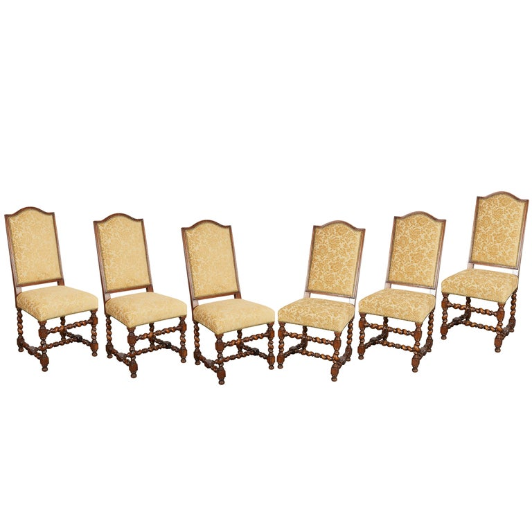 Set of Six Louis XIII Style Oak Dining Chairs