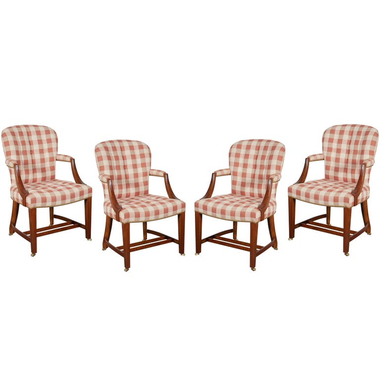 Set of Four Hepplewhite Style Oak Armchairs