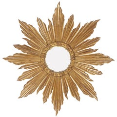 French Giltwood Starburst Sunburst Mirror