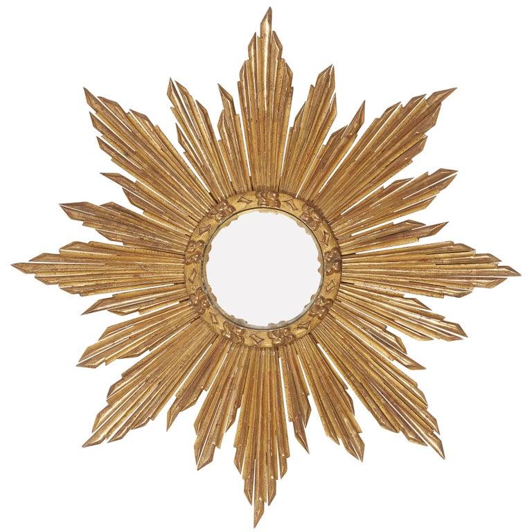 French Giltwood Starburst Sunburst Mirror