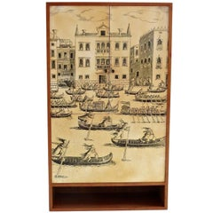 """Hanging Fornasetti Style Litographic Printed Wood  Cabinet """" Venezia"""", 1950"""