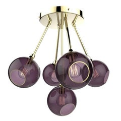 Ballroom Molecule Gold/Purple Chandelier Gold Base