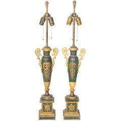 Pair of Bronze Tole Lamps
