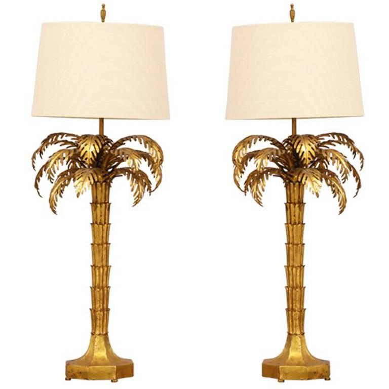 Pair Of 1960s Italian Gilt Iron Palm Tree Lamps For Sale