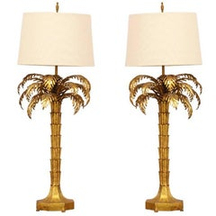 Pair of 1960s Italian Gilt Iron Palm Tree Lamps