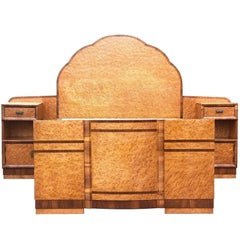 English, 1930s, Art Deco Maple Bed with Integral Cabinets