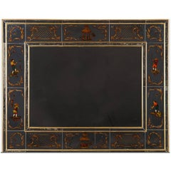 Very Chic Reversed Painted Chinoiserie Mirror in Gilt Wood Frame