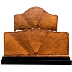 English Art Deco Fan Shaped Double Bed