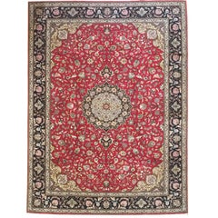 Persian Traditional Tabriz Medallion Floral Red Rug