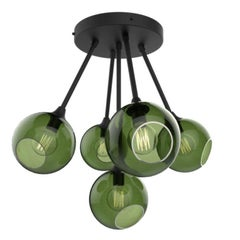 Ballroom Molecule Black/Green Chandelier Black Base