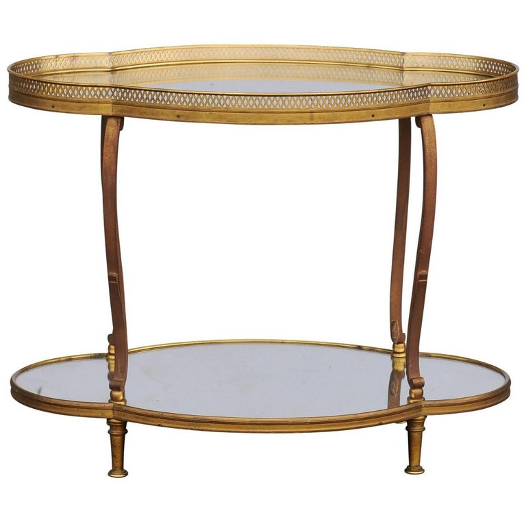 French Maison Jansen Style Br And Mirrored Two Tiered Side Table 1940s For