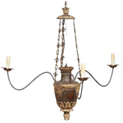 Italian Carved Wood Three-Light Chandelier with Swoop Arms, circa 1850