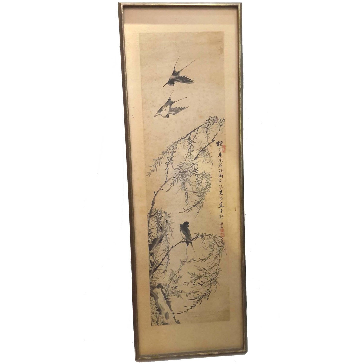 Antique japanese screens for sale - Chinese Scroll Painting Mounted On Board 19th 20th Century