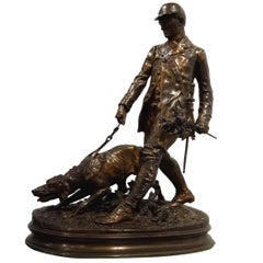 Pierre-Jules Mene Bronze Figure of a Hunter and Dog