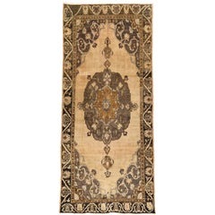 Vintage Turkish Kars Gallery Rug, Earth Tone Wide Runner