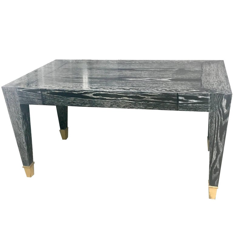 John Hutton Designed Parisian One-Drawer Desk in Cerused Ebonized Finish For Sale