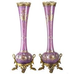 Pair of French or Italian Art Glass Raised Gilt Vases, Bronze Mounts