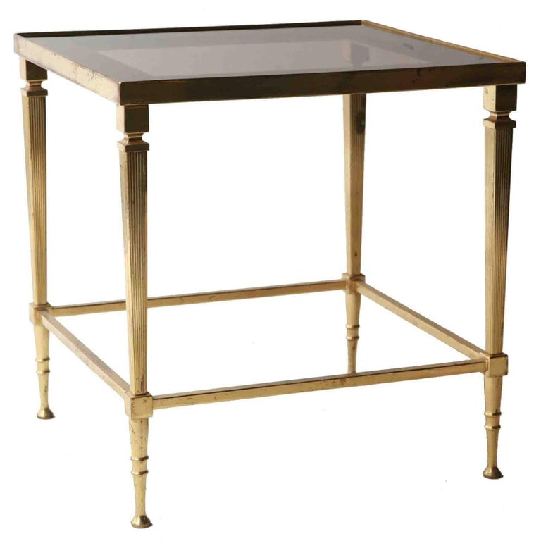 Maison Jansen Midcentury Modern Square Bronze Gl Gold French Side Table 1960