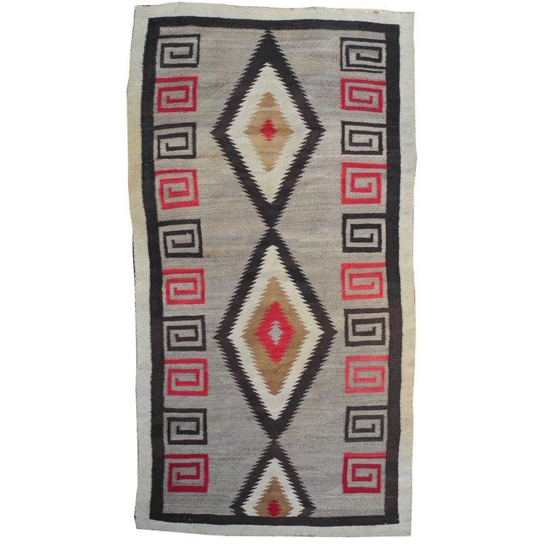 1940s Modern Native American Navajo Handwoven Wool Rug with Natural Fibers