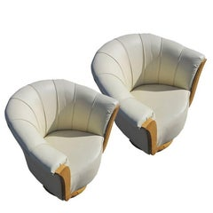 Pair of French Art Deco Style Burled Lounge Chairs