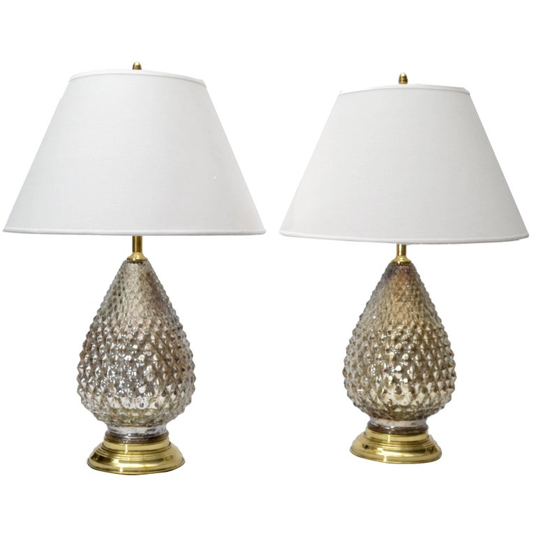 Mercury Glass Pineapple Table Lamps, Pair