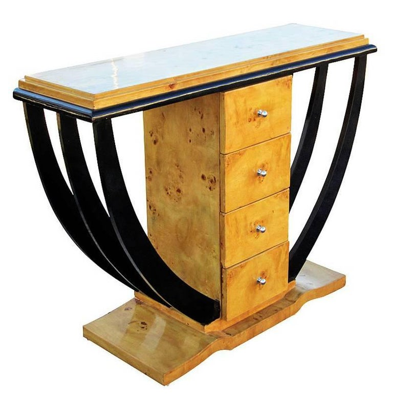 Burled Wood Art Deco Style Console Table